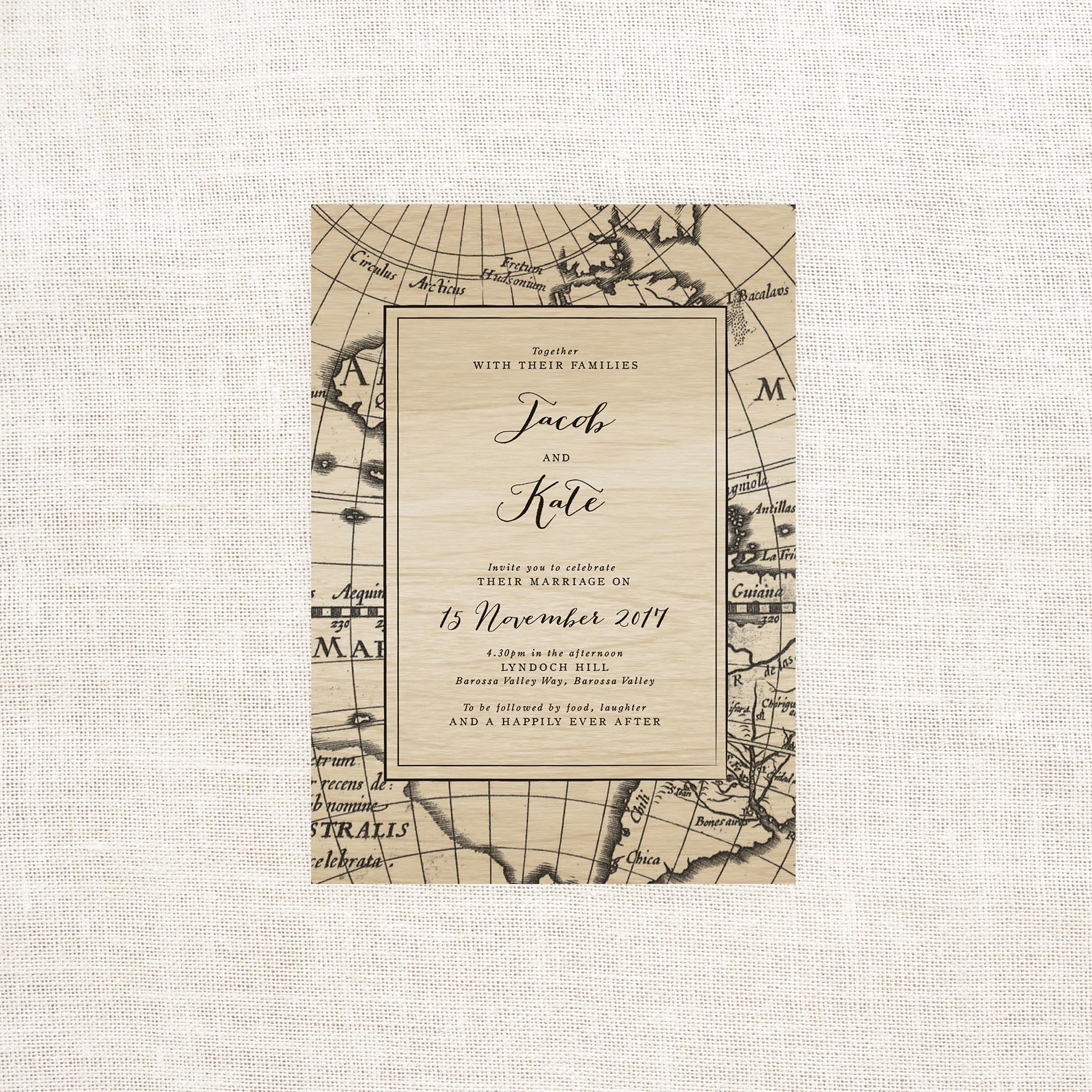 Vintage Map Wooden Wedding Invitations Wood Grain Antique Nautical Old World Calligraphy Stationery Australia Sail