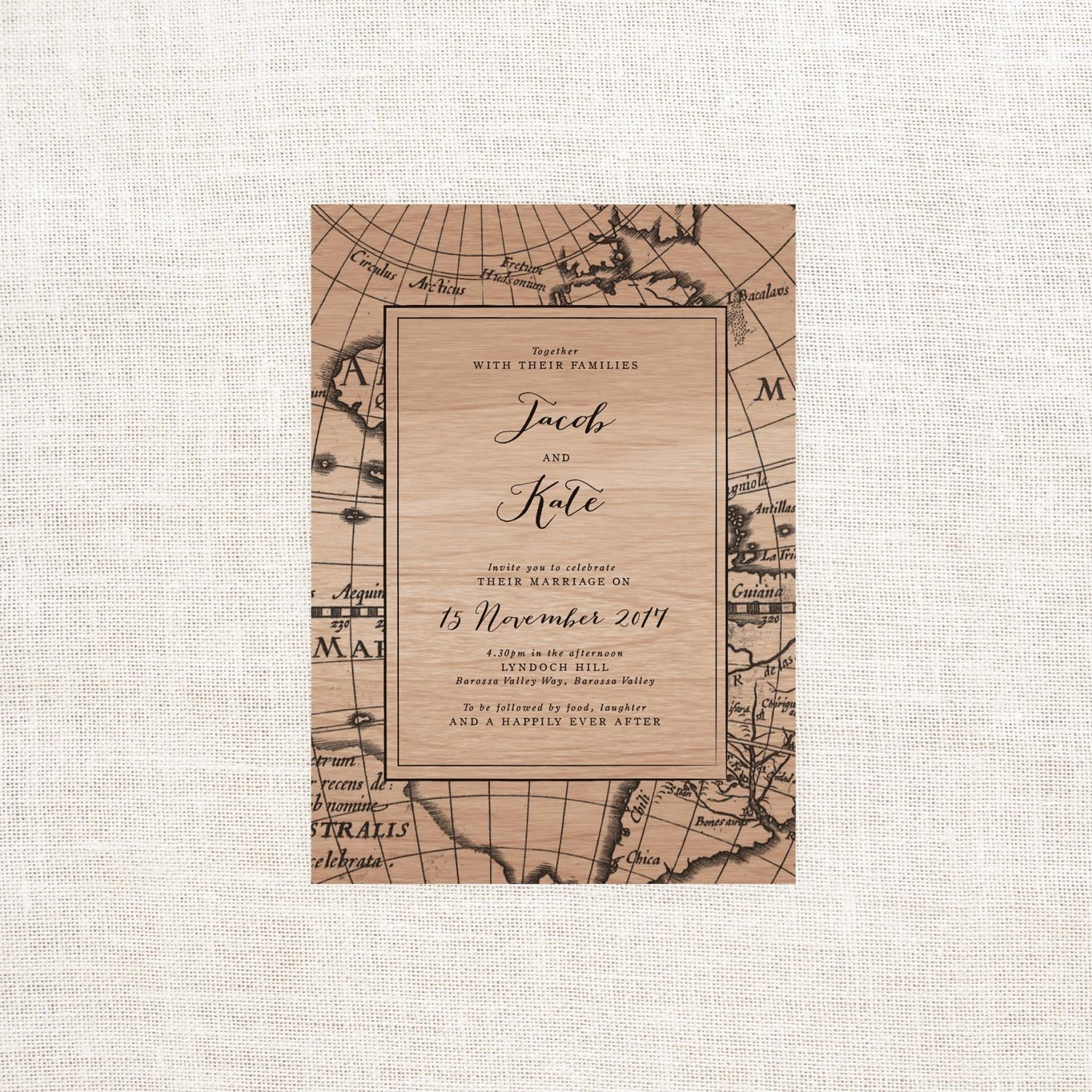 Vintage Map Wooden Wedding Invitations Sail And Swan Studio - Vintage world map on wood