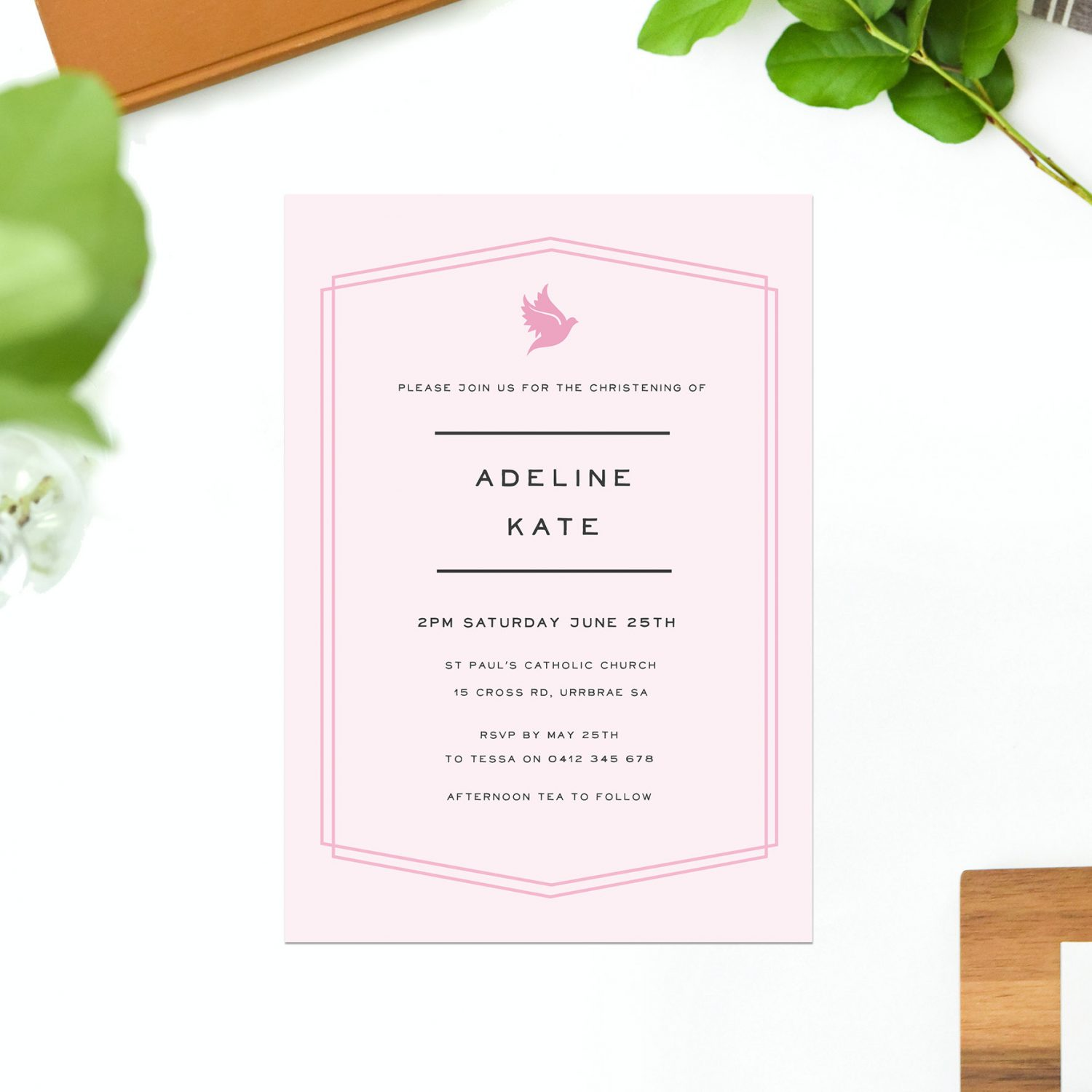 pink border christening invitations baby girl