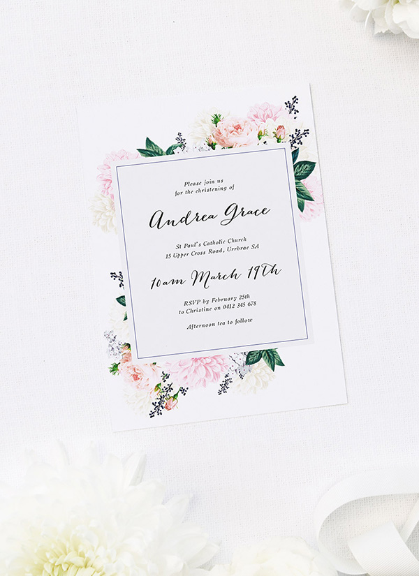 Elegant Floral Bouquet Christening Invitations