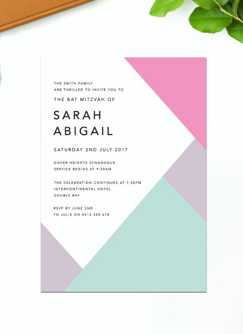Pink Geo Bat Mitzvah Invitations Purple Pink Green Sail and Swan Australia Jewish Ceremonies Religious Invites