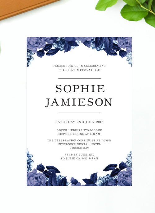 Blue Rose Bat Mitzvah Invitations Floral Roses Pretty Sail and Swan Australia Jewish Ceremonies Religious Invites