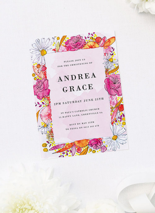 Bright Florals Christening Invitations