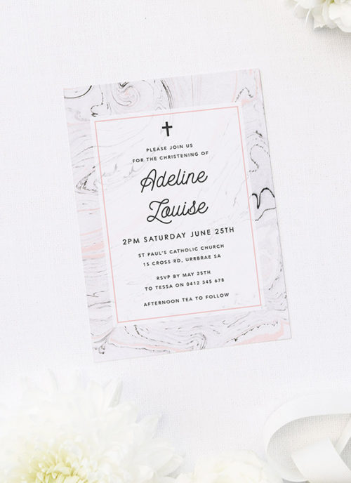 Pink & Grey Marble Christening Invitations