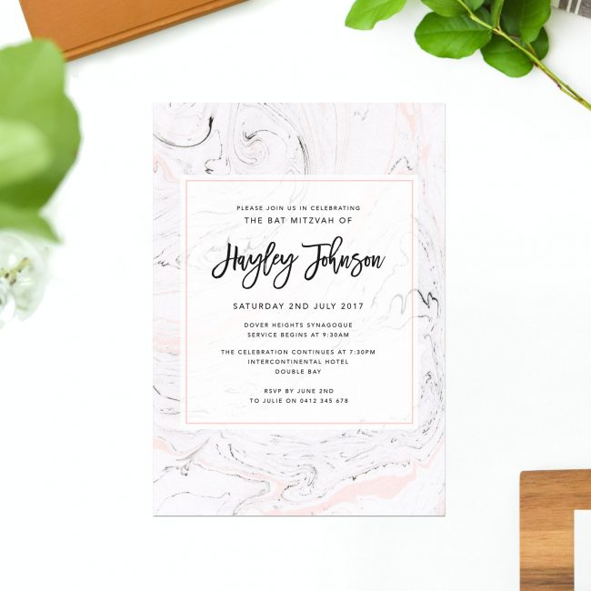 Pink & Grey Marble Bat Mitzvah Invitations Calligraphy Sail and Swan Australia Jewish Ceremonies Religious Invites