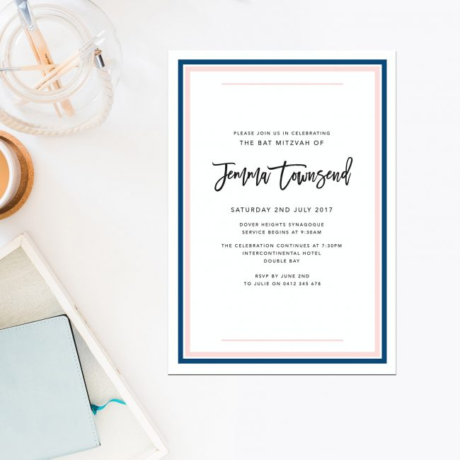 Navy & Pink Bat Mitzvah Invitations Border Simple Modern Navy & Pink Bat Mitzvah Invitations