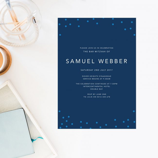 Navy Dot Bar Mitzvah Invitations Blue White Jewish Ceremonies Religious Invites Sail and Swan Australia