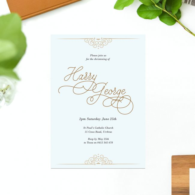 Powder Blue & Gold Script Christening Invitations Florets Regal Calligraphy Sail and Swan Australia Religious Invitations Baby Catholic Ceremonies Celebration
