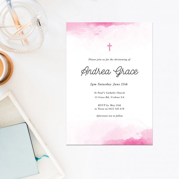 Pink Watercolour Christening Invitations Cross Catholic Ceremonies Religious Invites Baby Girl Sail and Swan Australia