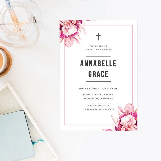 Pink Petals Christening Invitations Flowers Lillies Christening Sail and Swan Australia Catholic Ceremonies Religious Invites