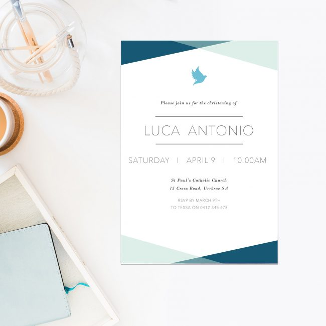 Blue Triangles Christening Invitations Turquoise Royal Blue Baby Boy Sail and Swan Australia Religious Invitations Baby Catholic Ceremonies Celebration