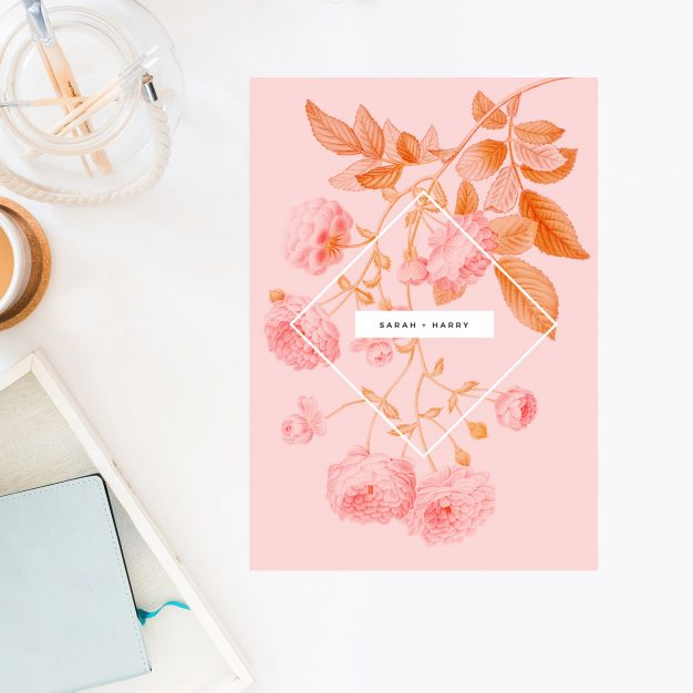 Light Pink Modern Botanical Wedding Invitations Pale Pink Floral Wedding Invites Contemporary Clean Simple Pink Peach Sydney Brisbane Perth Melbourne Australia Sail and Swan
