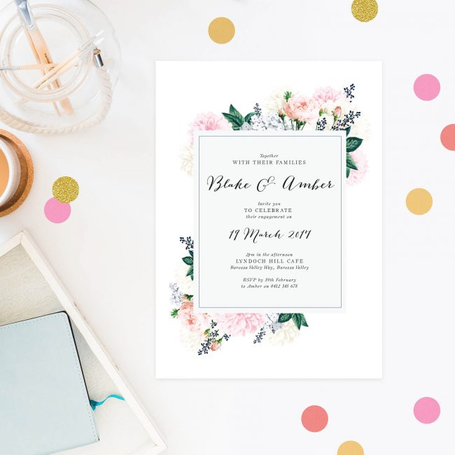 Pastel Floral Engagement Invitations Australia Sydney perth Melbourne Canberra New York United States Los Angeles New Zealand Auckland Sail and Swan