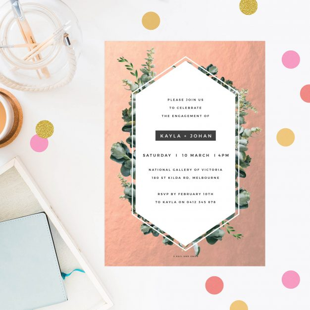 These Rose Gold Foil Modern Botanical Engagement Invitations Australia Sydney perth Melbourne Canberra New York United States Los Angeles New Zealand Auckland Sail and Swan