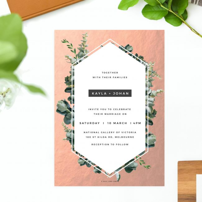 Rose Gold Foil Modern Botanical Wedding Invitations - Chic Greenery