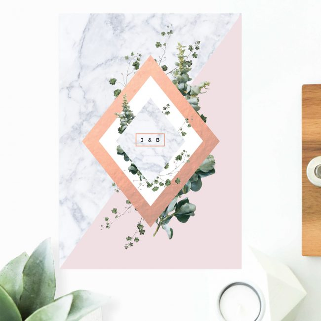 Modern Geometric Marble Rose Gold Engagement Invitations Contemporary Chic Invites Australia Sydney Perth Melbourne Canberra United States New York Los Angeles California New Zealand Auckland