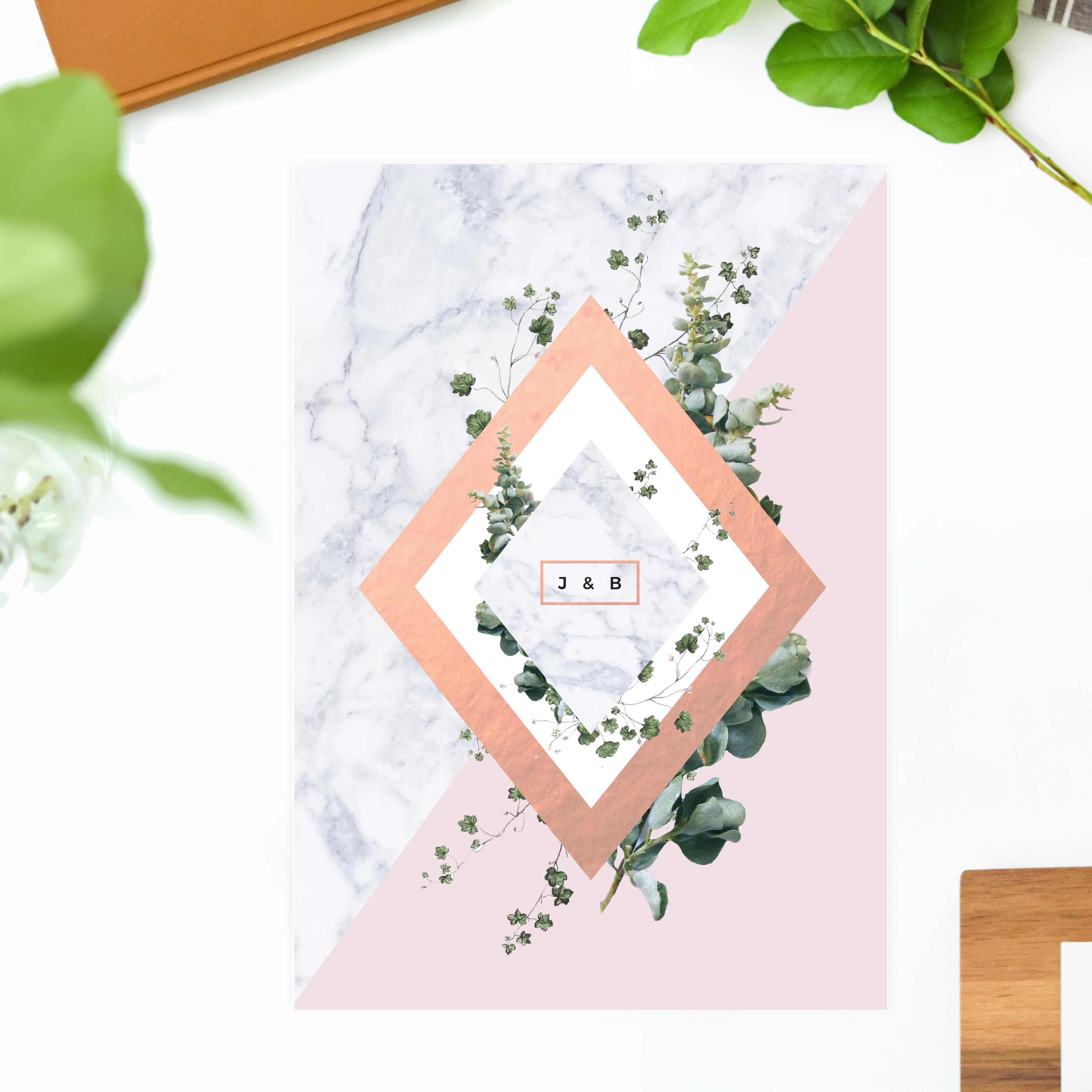Modern Geometric Marble Rose Gold Wedding Invitations Contemporary Chic greenery foliage floral green garden weddign stationery australia sydney perth melbourne sail and swan