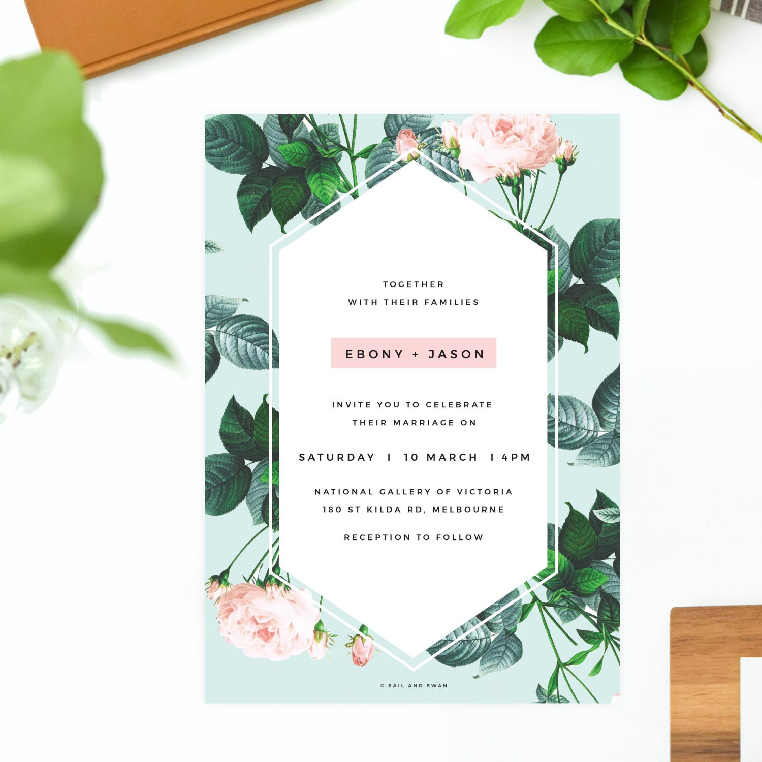 Floral Rose Mint Green Pastel Wedding Invitations - Modern Invites
