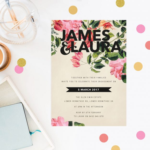 Modern Floral Engagement Invitations Botanical Foliage Invites Australia Sydney Perth Melbourne Brisbane Canberra United States New York Los Angeles California New Zealand Auckland Sail and Swan