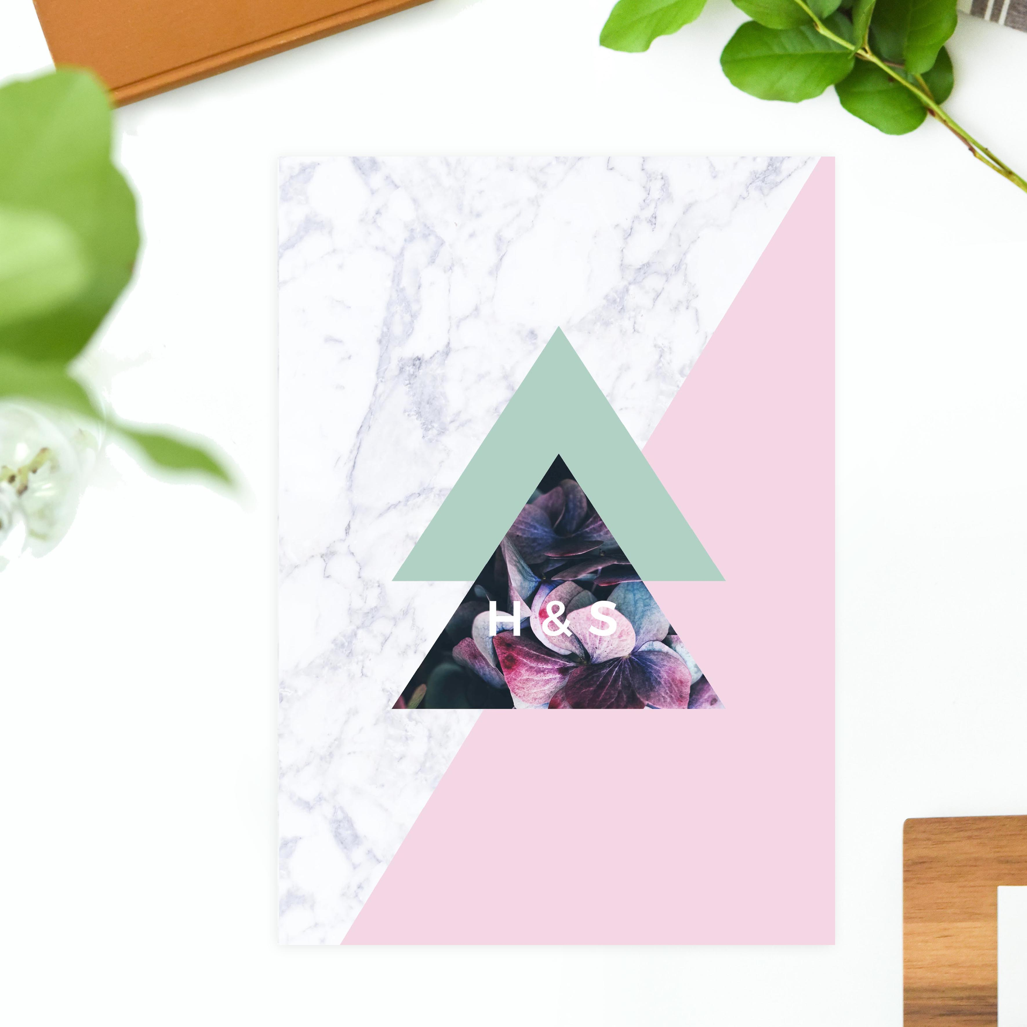 Modern Geometric Marble Hydrangea Floral Wedding Invitations Pink Purple Green grey Chic Luxe Wedding Invites United States Australia New Zealand Sydney Melbourne Perth Sail and Swan