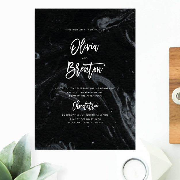 Granite Black Marble Engagement Invitations Australia Sydney Perth Melbourne Canberra Brisbane Uniated States US New York Los Angeles California New Zealand Auckland Sail and Swan