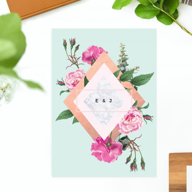 Rose Gold Floral Pink Green Wedding Invitations - Jayne Austin beautiful wedding invites united states US australia new zealand perth sydney melbourne sail and swan