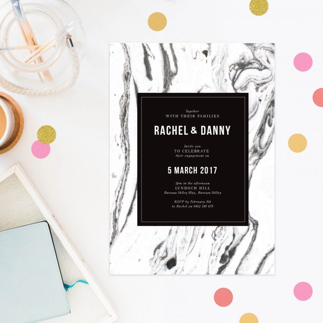 Black and White Marble Engagement Invitations Modern Marble Engagement Invites Australia Canberra Perth Sydney Melbourne brisbane United States New York Los Angeles California New Zeland Auckland Sail and Swan