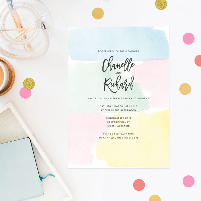 Pastel Watercolour Engagement Invitations Australia Sydney Perth Melbourne Canberra United States New York Los Angeles California New Zealand Auckland Engagement Invites Sail and Swan