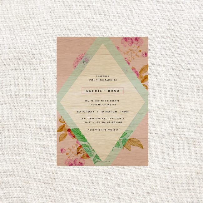 Pink Pastel Modern Floral Wooden Wedding Invitations Mint Green Blue Pastel Invitations Modern Wedding Invitations Australia Sydney Melbourne Perth Canberra United States New York Los Angeles california New Zealand Auckland Unique different stunning wedding invitations Sail and Swan