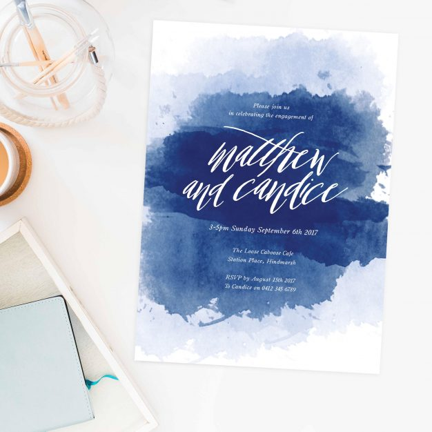 Navy Blue Watercolour Engagement Invitations Calligraphy Australia Sydney Perth Melbourne Canberra Brisbane United States New York Los Angeles California New Zealand Auckland Engagement Invites Sail and Swan