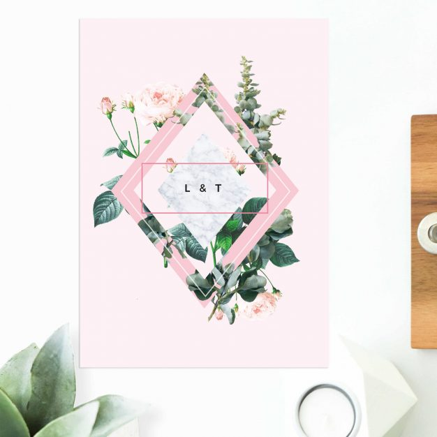 Modern Pink Green Floral Botanical Engagement Invitations United States New York Australia Sydney Perth Canberra Melbourne Brisbane New Zealand UK engagement invites Sail and Swan