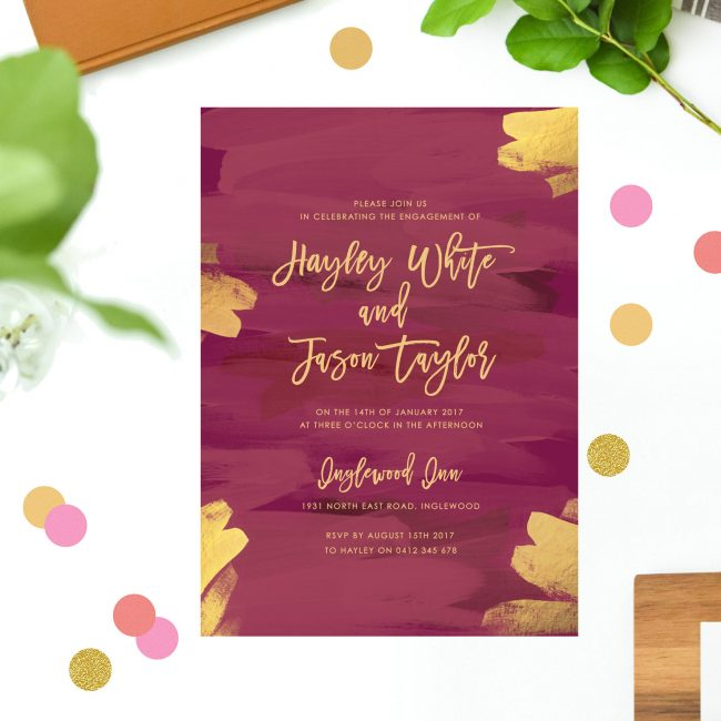Gold Burgundy Engagement Invitations Australia Sydney Perth Melbourne Canberra Brisbane United States New York Los Angeles California New Zealand UK Engagement Invites Sail and Swan