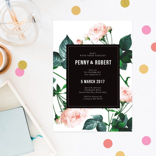 Rose Modern Vintage Engagement Invitations Australia Sydney Perth Melbourne Brisbane Canberra United States New York Los Angeles California New Zealand United Kingdom Engagement Invites Sail and Swan
