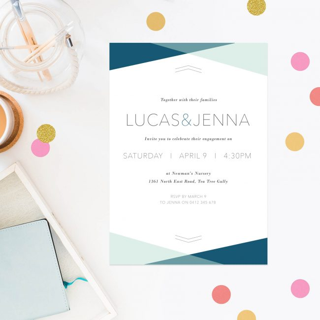 Minimal Modern Engagement Invitations Australia Sydney Perth Canberra Brisbane United States New York Los Angeles California New Zealand United Kingdom Blue Turquoise Beach Engagement Invites Sail and Swan