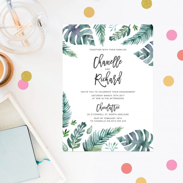 Tropical Engagement Invitations Australia Sydney Perth Brisbane Canberra United States New York Los Angeles California United Kingdom New Zealand Monstera Leaves Watercolour Engagement Invites Sail and Swan