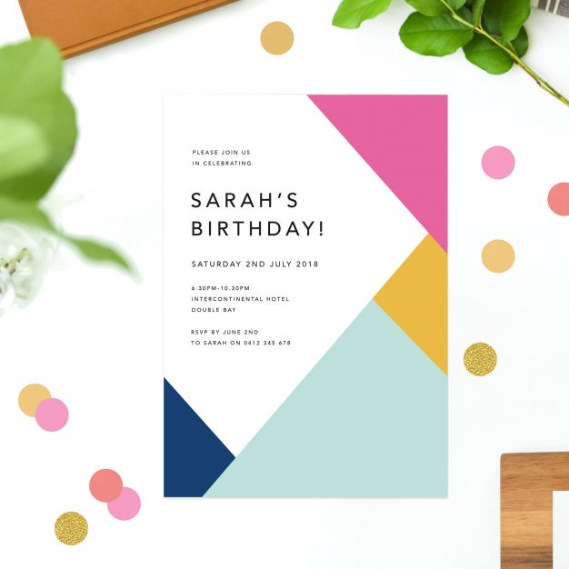 Vibrant Colours Summer Birthday Invitations Simple Modern Minimal Pink Yellow Blue green tropical Brithday invites Australia Sydney melbourne perth United States New York California New Zealand UK London Sail and Swan
