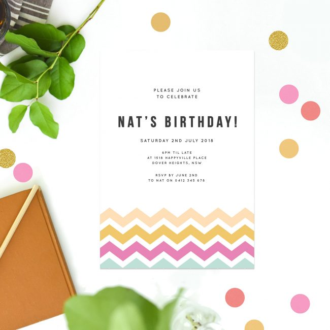 Colourful Chevron Pattern Birthday Invitations Summer Birthday Invites tropical Birthday Invitations Australia Sydney Perth Melbourne Brisbane London UK United States New York California Sail and Swan Pink Yellow Blue Aqua Mint tropical Colors