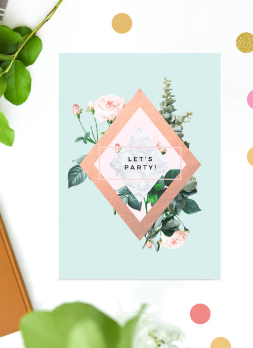 Rose Gold Mint Green Pastel Green Birthday Invitations Classy Sophisticated Birthday Invites Australia Sydney Perth Melbourne UK London United Kingdom United States New York California Contemporary Designer Invitations Floral Roses Sail and Swan