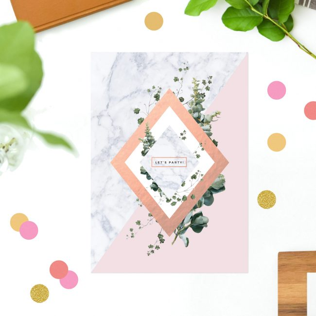 Botanical Chic Modern Rose Gold Marble Birthday Invitations Stylish Elegant Modern Birthday Invites Australia Sydney Melbourne Perth Canberra New York US United States California Uk United Kingdom Sail and Swan