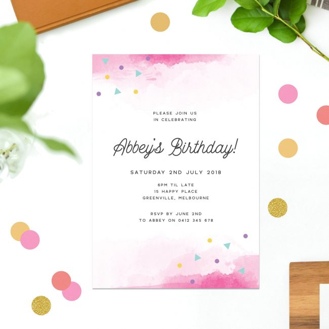 Pink Watercolour Birthday Invitations colourful confetti summer tropical happy fun vibe birthday invites Australia Sydney Perth melbourne Canberra Brisbane New York United States California UK United Kingdom London Sail and Swan