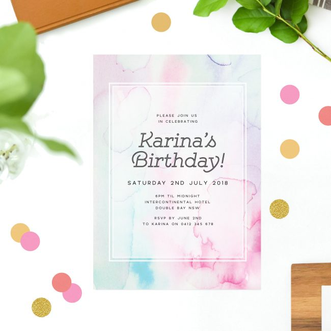 Colourful Watercolour Birthday Invitations Blue Pink Green Purple Watercolour Wash Birthday Invites Australia Sydney Melbourne Perth brisbane United States New York California UK London Sail and Swan