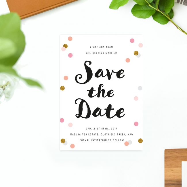 Pink and Gold Confetti Save the Dates Australia Sydney Perth Melbourne Adelaide Brisbane Canberra Fun confetti pink peach gold save the dates new york united states uk london