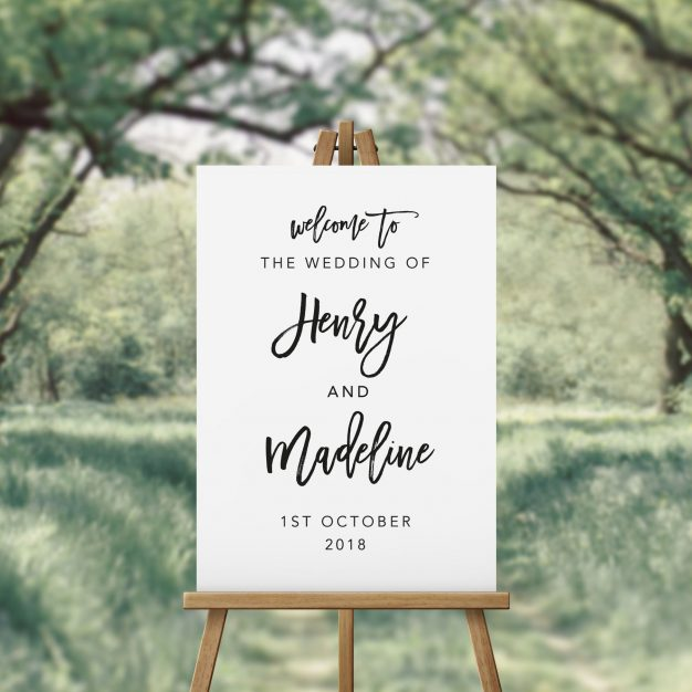 Black and White Hand Script Font Wedding Welcome Sign Australia Adelaide Perth Melbourne Sydney Canberra Brisbane elegant Black white wedding sign