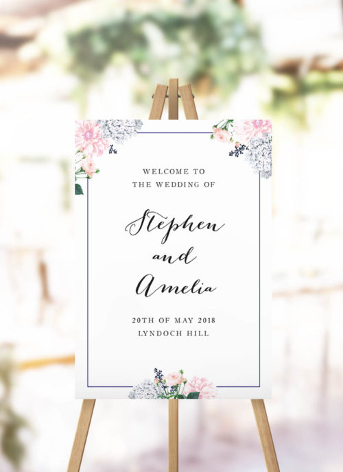 Elegant Pastel Floral Wedding Welcome Sign