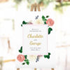 Blush Roses Elegant Welcome Sign pink rose elegant florals cream classic