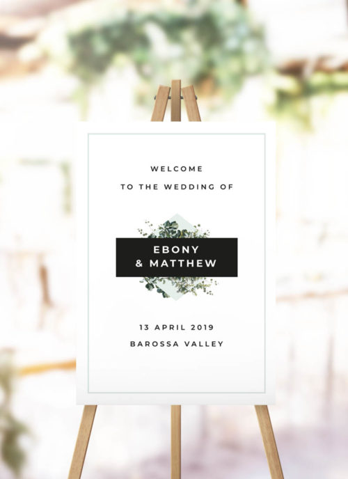 Bold Modern Botanical Wedding Welcome Sign