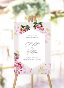 Pink Green Modern Botanical Welcome Sign