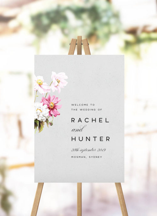 Elegant Grey Floral Welcome Sign