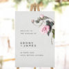 Grey Botanical Greenery Welcome Sign blush pink floral flower pink petals green leaves foliage