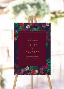 Elegant Burgundy Floral Wedding Welcome Sign